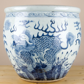 """Blue and White Traditional Porcelain Fishbowl Planter 22"""""""