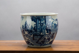 """Blue and White Traditional Porcelain Fishbowl Planter 10"""""""