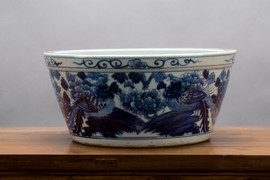 """Blue and White Traditional Porcelain Tabletop Planter / Basin14"""""""