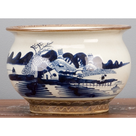 """Blue and White Traditional Porcelain Planter 9"""""""