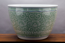 """Traditional White and Green Porcelain Fishbowl Planter 21"""""""