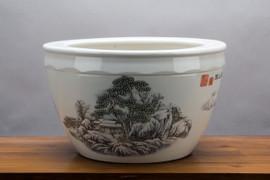 """Black and White Porcelain Planter 16"""""""