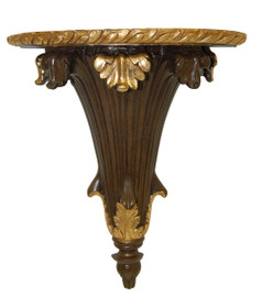 Classic Elements, 14t x 12w x 6d Tapered Acanthus Wall Bracket Sconce, Shelf, Custom Finish Walnut & Gold Leaf