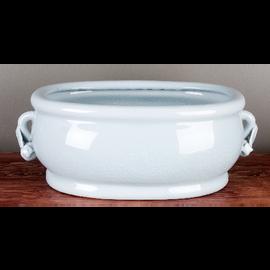 "Baby Blue Porcelain Footbath Planter with Pomegranate Handles 18"""