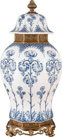 """Blue and White Classic Porcelain Temple Jar 22"""""""
