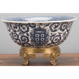 """Blue and White Classic Porcelain Tabletop Centerpiece Bowl 12"""""""