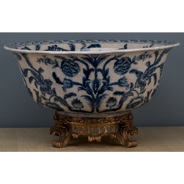"""Blue and White Classic Porcelain Tabletop Centerpiece Bowl 17"""""""