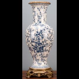 "Blue and White Classic Porcelain Vase 20"""