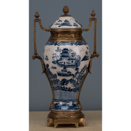 Blue and White Classic Porcelain Urn 15.5""
