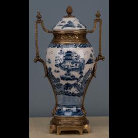 "#Blue and White Classic Porcelain Cassolette Urn 15.5"""