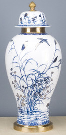 """Blue and White Classic Porcelain Temple Jar 23"""""""