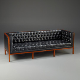A Manhattan Modern - Contemporary - Art Deco - 84 Inch Handcrafted Sofa - Hand Tufted Ebony Black Leather Upholstery - Wood Stain Luxurie Furniture Finish