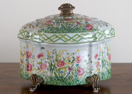 """White Crackle with Blue, Pink, and Yellow Porcelain Decorative Box 10"""""""