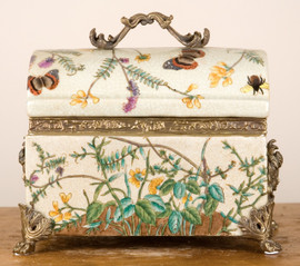"""White Crackle with Blue, Pink, and Yellow Porcelain Decorative Box 9"""""""