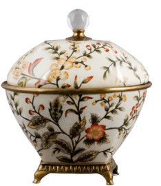 """White Crackle with Gold, Brown, and Rust Porcelain Boudoir Box 9"""""""