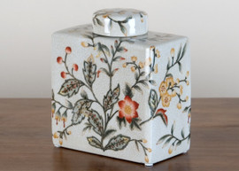 """White Crackle with Gold, Brown, and Rust Porcelain Decorative Container 6"""""""