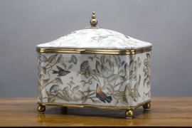 White, Gray, and Tan Porcelain Decorative Box 9""