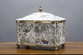 "White, Gray, and Tan Porcelain Decorative Box 9"""