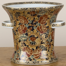 """Black, Gold, and Rust Porcelain Table Top Planter 8.5"""""""