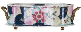 """White Crackle with Bright Pink and Dark Blue Porcelain Table Top Planter 22"""""""