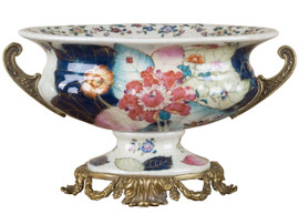 White Crackle with Bright Pink and Dark Blue Porcelain Decorative Centerpiece Bowl 12""