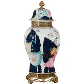 """White Crackle with Bright Pink and Dark Blue Porcelain Temple Jar 22"""""""