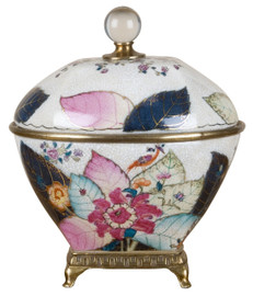 """#White Crackle with Bright Pink and Dark Blue Porcelain Decorative Container 9"""""""