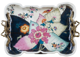 White Crackle with Bright Pink and Dark Blue Porcelain Decorative Tray 14""