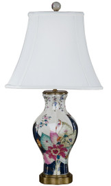 White Crackle with Bright Pink and Dark Blue Porcelain Lamp with Silk Shade 31""