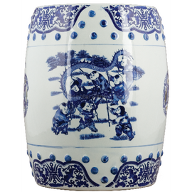 Luxury Hand Painted Porcelain Garden Stool, 15.25 Inch, Classic Blue and White Design