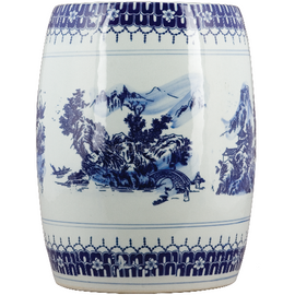 Luxury Hand Painted Porcelain Garden Stool, 13.75 Inch, Classic Blue and White Design
