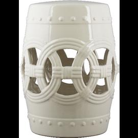 Luxury Hand Painted Porcelain Garden Stool, 18 Inch, Soft Cream Finish