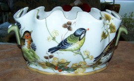 Bluebird Nature Scene - Luxury Handmade and Painted Reproduction Chinese Porcelain - 12 Inch Scalloped Rim Footbath, Planter - Style C591
