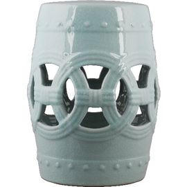 Luxury Hand Painted Porcelain Garden Stool, 18 Inch, Polished Celadon Finish