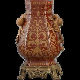 Janja Pattern - Luxury Hand Painted Porcelain and Gilt Bronze Ormolu - 14 Inch Vase