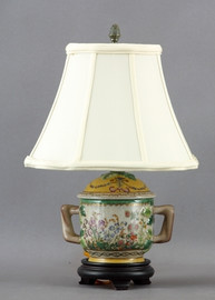 Spring Gardens Pattern - Luxury Hand Painted Porcelain - 15 Inch Lamp