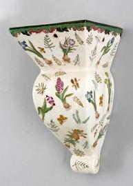 Bulbs and Butterflies Pattern - Luxury Hand Painted Porcelain - 12 Inch Wall Shelf, Bracket, Sconce