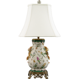 Bulbs and Butterflies Pattern - Luxury Hand Painted Porcelain and Gilt Bronze Ormolu - 29 Inch Lamp