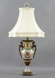Heavenly Putti Pattern - Luxury Hand Painted Porcelain and Gilt Bronze Ormolu - 28 Inch Lamp