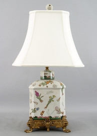 Bulbs and Butterflies Pattern - Luxury Hand Painted Porcelain and Gilt Bronze Ormolu - 27 Inch Lamp