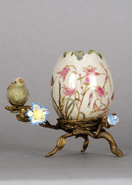 Pristine Parrots Pattern - Luxury Hand Painted Porcelain and Gilt Bronze Ormolu - 6 Inch Decorative Egg