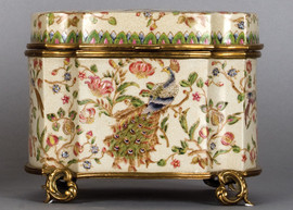 Bold Peacock Pattern - Luxury Hand Painted Porcelain and Gilt Bronze Ormolu - 10 Inch Decorative Box