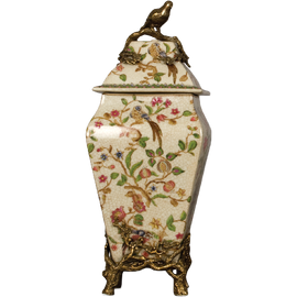 Porcelain Urn with Bronze Accents - Bold Peacock Pattern - 13.5t