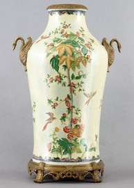 Spring Vine Pattern - Luxury Hand Painted Porcelain and Gilt Bronze Ormolu - 25 Inch Jar, Vase