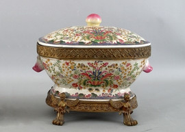 Lotus Flower Pattern - Luxury Hand Painted Porcelain and Gilt Bronze Ormolu - 14 Inch Tureen