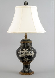 Ebony Black Toile Pattern - Luxury Hand Painted Porcelain and Gilt Bronze Ormolu - 28 Inch Lamp