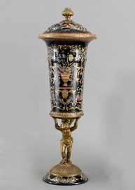Floral Drama Pattern - Luxury Hand Painted Porcelain and Gilt Bronze Ormolu - 23 Inch Covered Urn on Pedestal