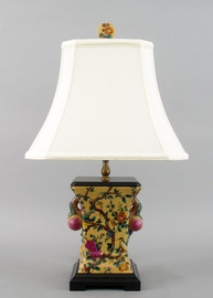 Yellow Floral Pattern - Luxury Hand Painted Porcelain - 24 Inch Lamp