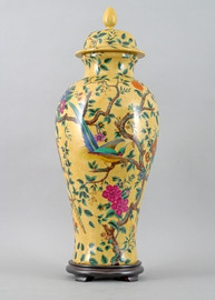 Yellow Floral Pattern - Luxury Hand Painted Porcelain - 24 Inch Covered Urn, Jar