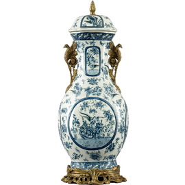Oriental Blue and White Pattern - Luxury Hand Painted Porcelain and Gilt Bronze Ormolu - 28 Inch Covered Jar